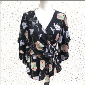 NY Collection Floral Wrap Blouse